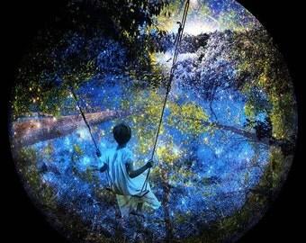 Fine Art Giclee Print, Collage, Painted Photograph, 8x8  fine art giclee print, Title: My Childhood Midsummer Night's Dream