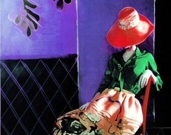 Portrait,  Fine Art Print, Giclee Archival Print, Photomontage, Collage, Painted Photographs, Woman Portrait,