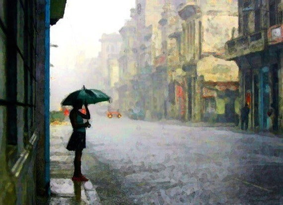 Giclee Archival Print, Photomontage, Collage, Painted Photographs, Rainy Day Blue