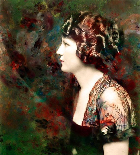 Waiting for Redon,  Fine Art Print, Photomontage, Collage, Photograph,  Giclee Print, Home Decor, Woman Portrait, Portrait, Wall Art