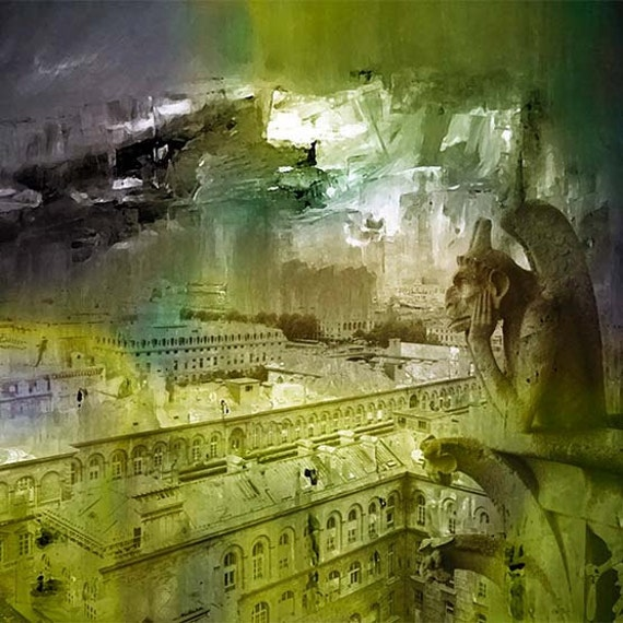 Paris, Cityscape, Moss green, Painted Photography, Photo Fusion, Collage, Fine Art Giclee Print