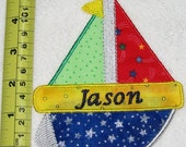 Large Sailboat sew on applique personalized  FREE  (Iron on by request)