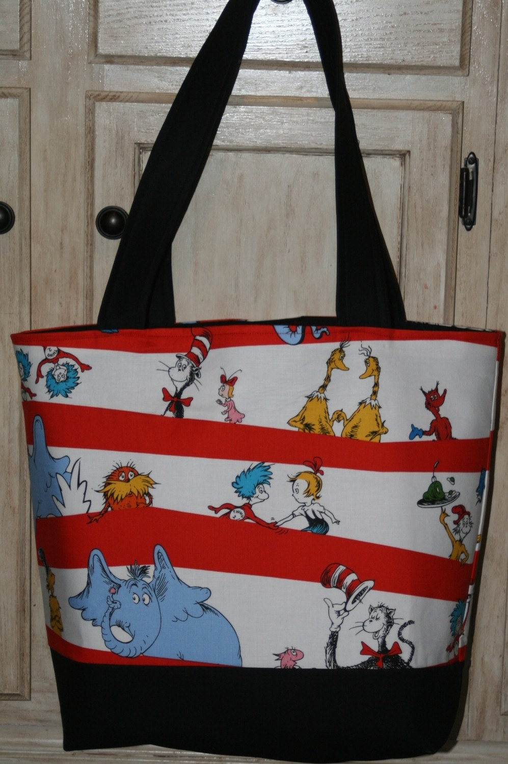 dr seuss fabric diaper tote bag cat in the hat personalized