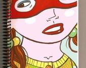 Notebook\/ sketchbook 5.5x8.5, Masked Girl