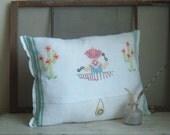 American Ruralist vintage embroidered tea towel pillow 1940s