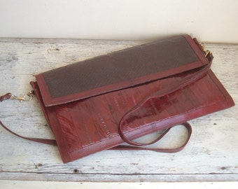 On Sale vintage Elan burgundy eel clutch