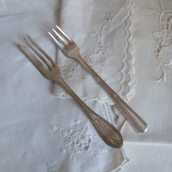 silverplated pickle and pastry forks