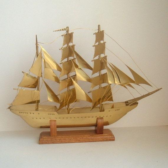 vintage brass sailing ship
