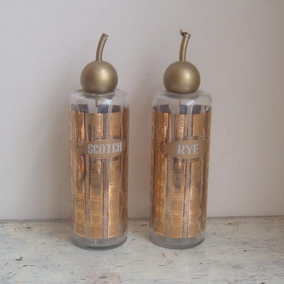 vintage culver glass decanters