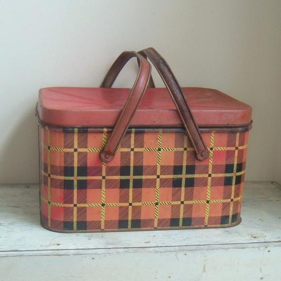 vintage plaid metal picnic basket