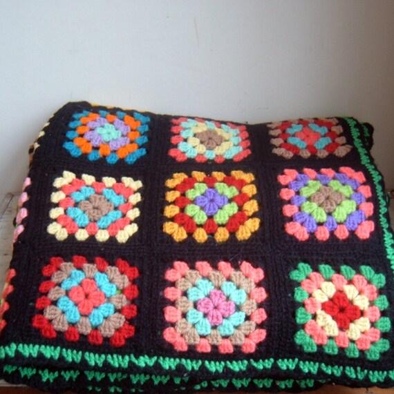 vintage wool granny square afghan