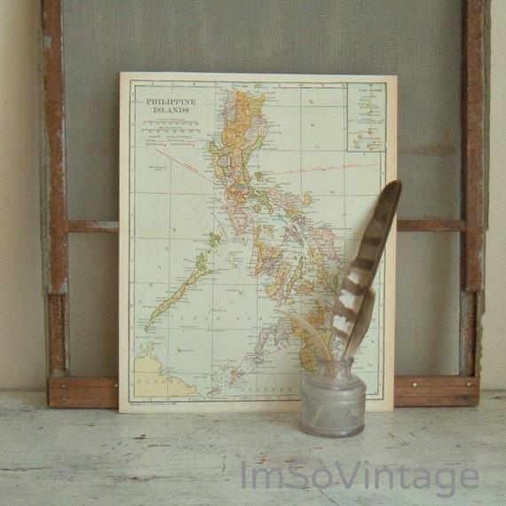 vintage map Philippine Islands1921