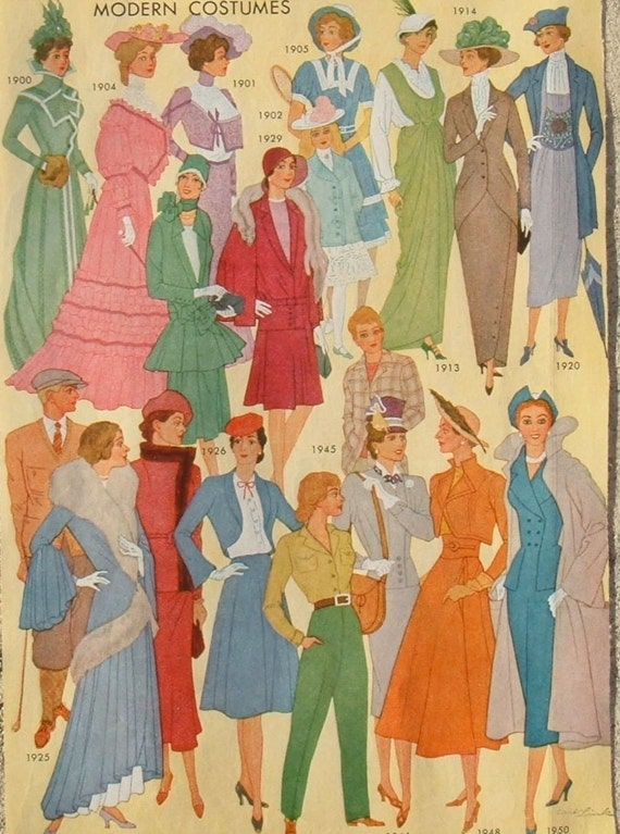 Modern costumes 1900 to 1950...fashion ephemera to frame or for artwork