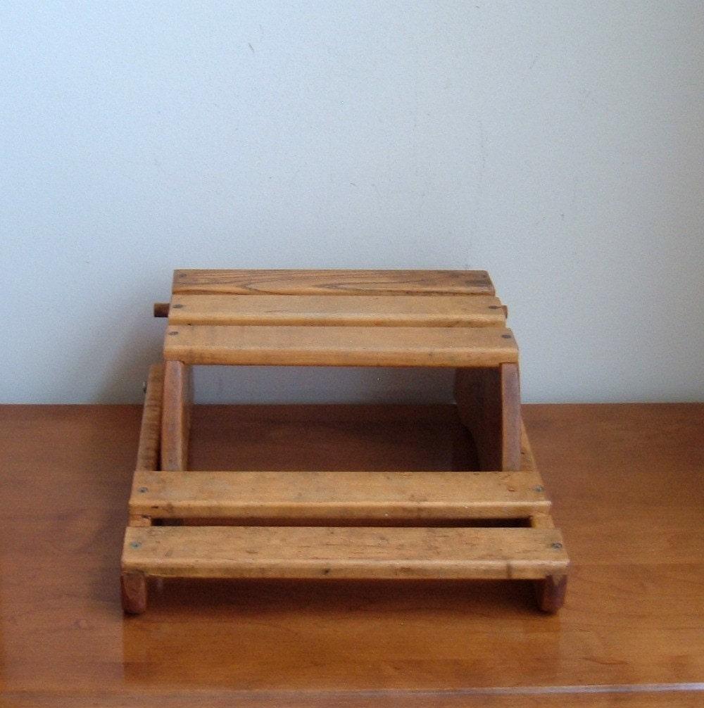 Vintage Folding Child Wood Chair Step Stool