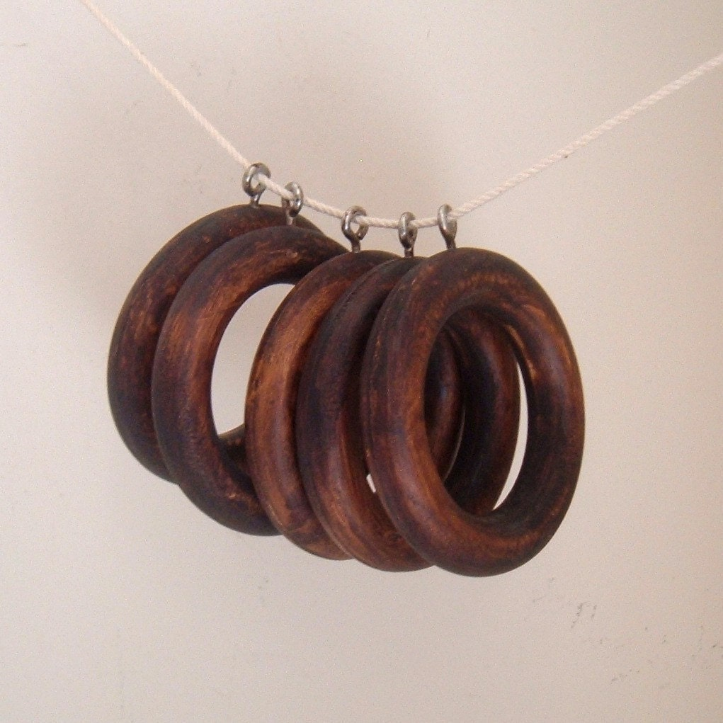Reserved For Jessica Vintage Wood Curtain Rings