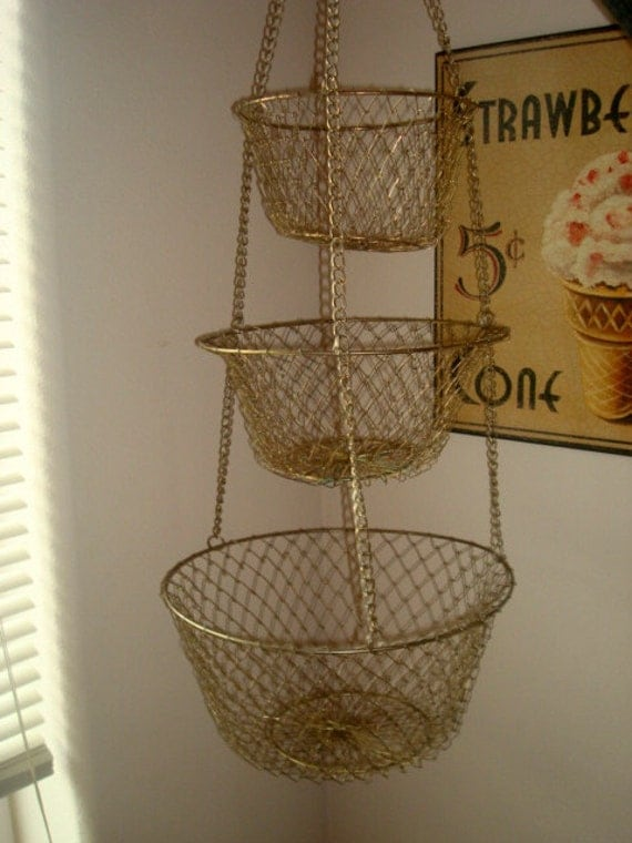 Vintage Metal Hanging Baskets 3 Tier Wire