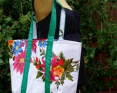 Oilcloth 'classic' Market bag or tote in poinsettia on white