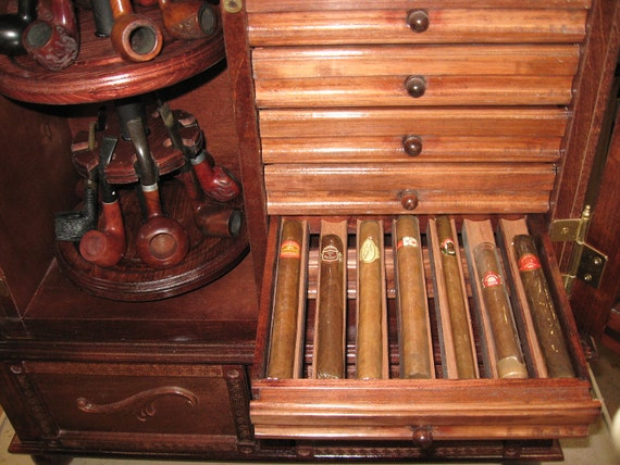 Antique Style Pipe Rack Cigar Humidor Cabinet 500C