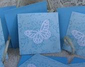 Note Cards/envelopes SET/6 - Blue floral - Lacy Butterfly and Glitz