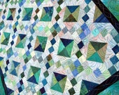 Patchwork Lap Quilt, Throw blanket, Heirloom, Hand-Dyed, Sea of Green Mystery