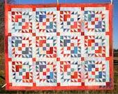 Patchwork Lap Quilt, throw blanket, Heirloom,  Americana Candy, Hand In Hand Design, cozy, patriotic