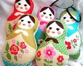 Worry Dolls or Ornaments - Pastel Beige Classic Stuffed Matryoshka Dolls - Set of 5