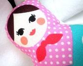 Stuffed Ornament  - Matryoshka Doll with Pink Purple Polka dot Scarf