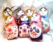 Matryoshka Ornament or Worry Doll - Stuffed Classic Floral Theme - Set of 5