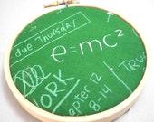Chalk Board Miniature Art Hoop - Home Decor - E equals MC2