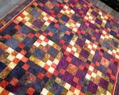 Patchwork Lap Quilt, Throw blanket, Heirloom, Hand Dyed,  Arizona Sunrise Mystery