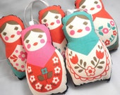 Worry Dolls or Ornaments - Red, Turquoise and Pink Classic Stuffed Matryoshka Dolls - Choose 1 - Made to Order