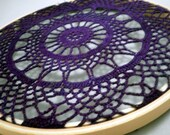 Hand Dyed Plum Purple Vintage Lace Doily Art Hoop - Home Decor