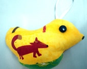 Canary Yellow Bird Ornament - A Partridge in a Pear Tree - Moose, Fox, and Evergreen Tree Style