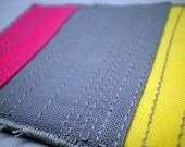 Quilted ACEO - Modern Stripes 2.0 - Solids in Ash, Pink and Sorbet Yellow- OOAK