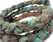 Memory Bracelet - Braided Hand-Dyed Fabric in Brilliant Turquoise and a Burgundy Brown