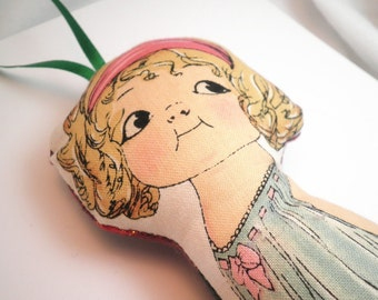Ornament or Worry Doll -  Vintage Inspired Paper Doll - Jenny - Made to Order