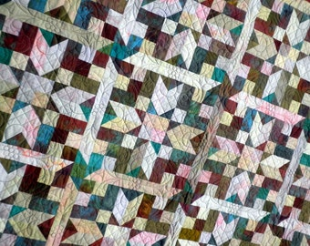 Patchwork Lap Quilt, throw blanket, Heirloom, Hand-Dyed, Old World Christmas, Scrappy Blackford Design