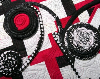Quilted Wall Art - Rectangular Conundrum - Inspired by the Project Quilting Black and White Challenge