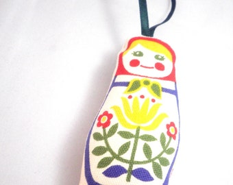Stuffed Ornament  - Matryoshka Doll with Rosy Red Cheeks