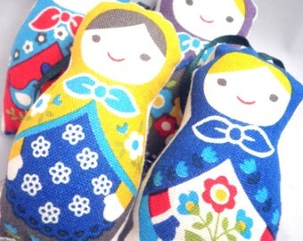 Ornaments - Stuffed Floral Linen Matryoshka Doll - Set of 4 - made to order