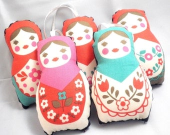 Matryoshka Ornaments - Red, Turquoise and Pink Classic Stuffed Babushka Dolls - Set of 5