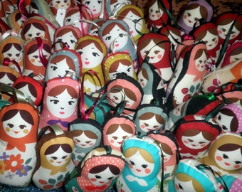 Matryoshka Worry Doll Ornaments, WHOLESALE, Set of 20, made to order