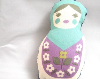 Stuffed Ornament - Soft Turquoise Matryoshka Doll