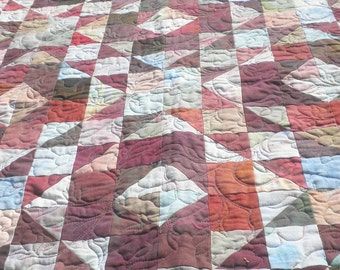 Patchwork Lap Quilt, Throw Blanket, Heirloom, Hand-Dyed, Shades of Burgundy, scrappy - Road to Retreat Design