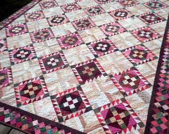 Patchwork Bed Quilt , Lap, Twin, or Full, Heirloom, Scrappy, Cream, Fuchsia, Green, Brown - Roll, Roll Cotton Boll