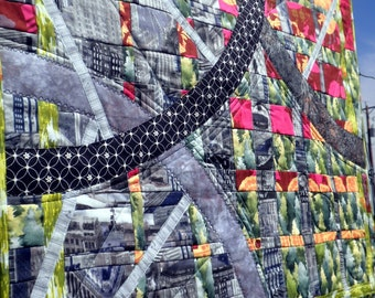 Quilted Wall Art - Bicycle Race Convergence