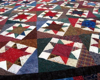 Heirloom Patchwork Quilt, Twin, Full, or Lap, Blanket, Throw, Bedding, Kaddywampus Scrappy Star, traditional