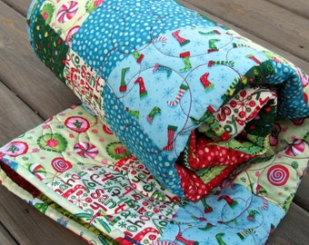 Patchwork Lap Quilt, Throw Blanket - Secret Santa Tumbler - Celebrate Christmas, cozy