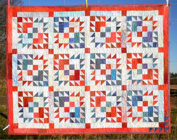 Patchwork Lap Quilt, throw blanket, Heirloom,  Americana Candy, Hand In Hand Design, cozy, patriotic