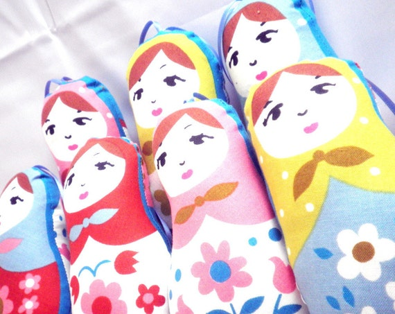 Ornament or Worry Doll - Stuffed Floral Matryoshka - Set of 7